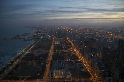 Over Chicago At Dusk Art Print