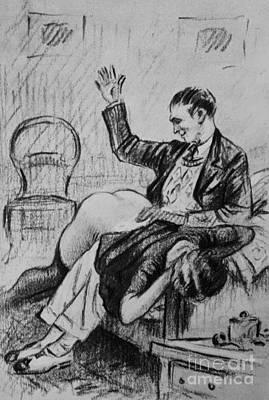 Over His Knee Art Print by P Beloti