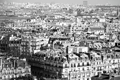 Photograph - Over Paris Rooftops Black And White by Shawn O'Brien