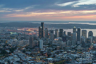 Over Seattle Downtown And The Stadiums Art Print