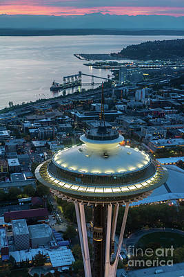 The Link Photograph - Over Seattle Space Needle Dusk Closeup by Mike Reid