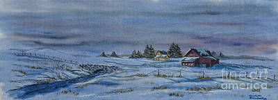 New England Snow Scene Painting - Over The Bridge And Through The Snow by Charlotte Blanchard