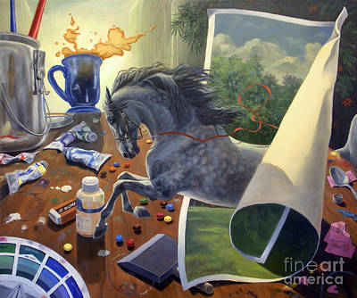 Equestrian Painting - Over The Edge by Jeanne Newton Schoborg
