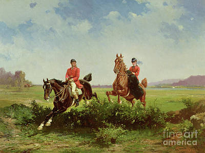 Fox Hunting Painting - Over The Fence by Alfredo Tominz