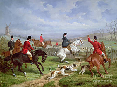 The Hunt Painting - Over The Fence by Edward Benjamin Herberte