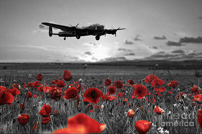 Lancaster Bomber Digital Art - Over The Fields -  Selective by J Biggadike