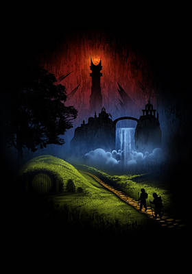 The Hobbit Wall Art - Digital Art - Over The Hill by Alyn Spiller