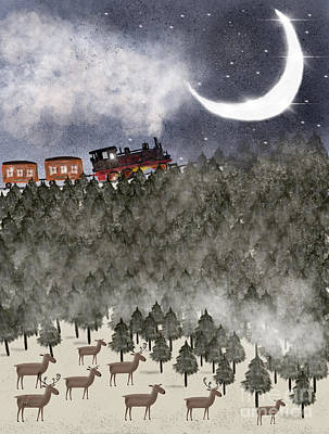 Moon And Stars Painting - Over The Hill And Far Away by Bleu Bri