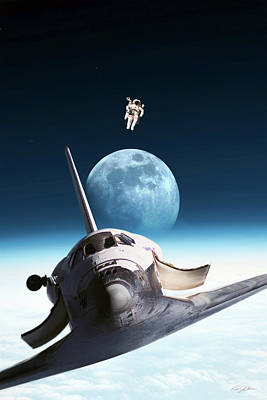 Digital Art - Over The Moon - Bruce Mccandless by Peter Chilelli