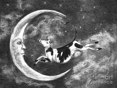 Drawing - Over The Moon by J Ferwerda