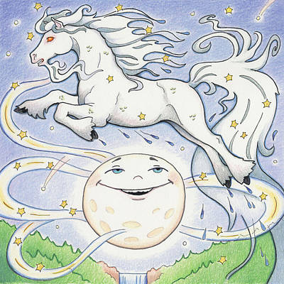 Full Moon Drawing - Over The Moon Waterhorse by Amy S Turner