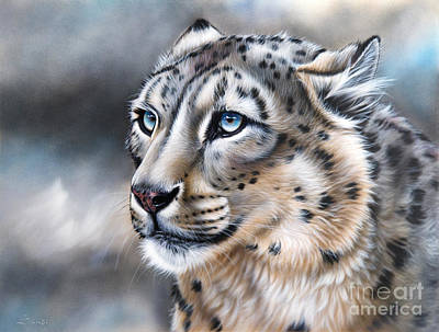 Snow Leopard Painting - Over The Mountain by Sandi Baker