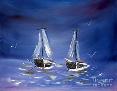 Comic Character Paintings - Over The Ocean Blue by Janice Pariza