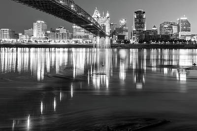 Photograph - Over The Ohio River - Cincinnati Skyline In Black And White by Gregory Ballos