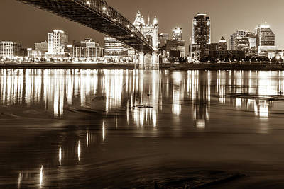 Photograph - Over The Ohio River - Cincinnati Skyline In Sepia by Gregory Ballos