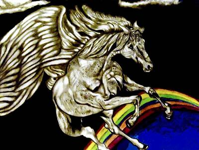 Pegasus Drawing - Over The Rainbow by Herbert Renard
