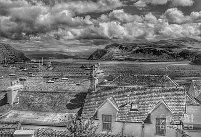 Photograph - Over The Roof Tops At Portree In Greyscale by Joan-Violet Stretch
