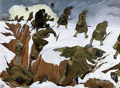 Trench Warfare Painting - Over The Top. 1st Artists' Rifles At Marcoing, 30th December 1917 by John Nash