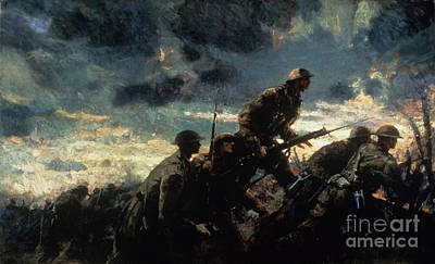 First World War Painting - Over The Top by Alfred Bastien