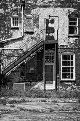 Print featuring the photograph Over Under The Stairs - Bw by Christopher Holmes