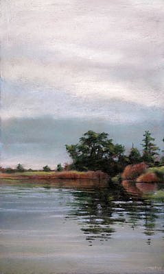 Marsh Scene Painting - Overcast Island by Christopher Reid