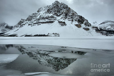Photograph - Overcast Winter Bow Lake Reflections by Adam Jewell