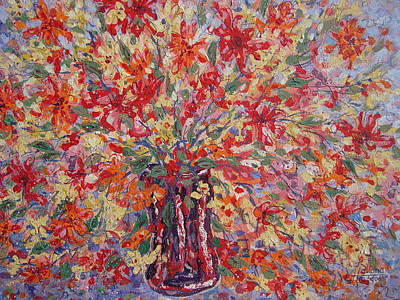 Painting - Overflowing Flowers. by Leonard Holland