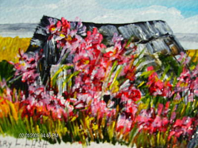 Overgrown Rosebushes Art Print by Terry Lash