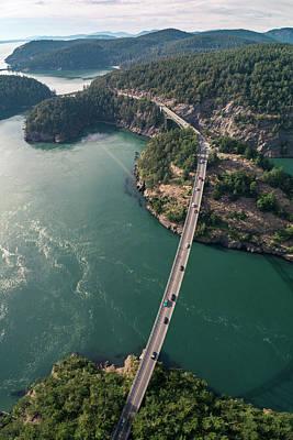 Photograph - Overhead Aerial Of Deception Pass Bridge And Coastal Washington  by Open Range