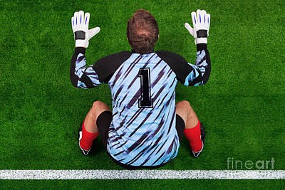 Birdseye Photograph - Overhead Shot Of A Goalkeeper On The Goal Line by Richard Thomas