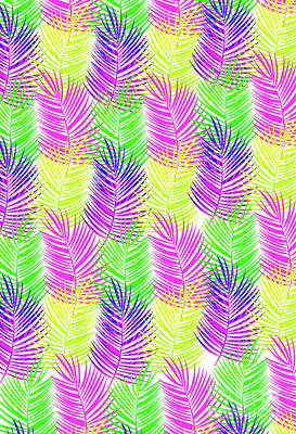 Multi Colored Digital Art - Overlaid Leaves by Louisa Knight
