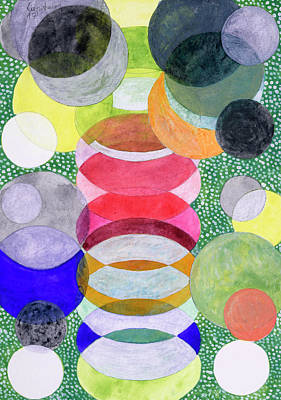 Oval Office Painting - Overlapping Ovals And Circles On Green Dotted Ground by Heidi Capitaine