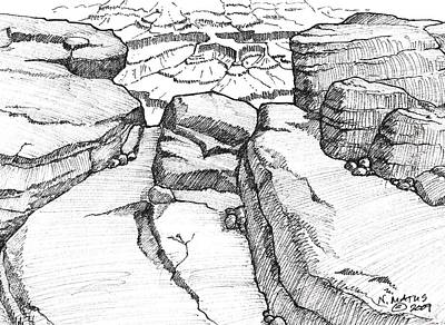 Grand Canyon Drawing - Overlook by Nancy Matus
