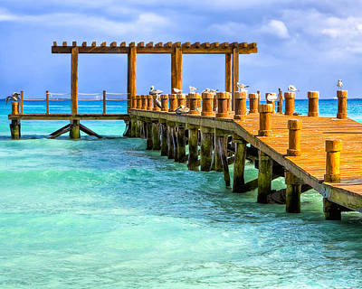 Photograph - Overlooking A Pier On The Caribbean Sea by Mark E Tisdale