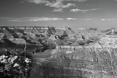 Photograph - Overlooking Grand Canyon - Black And White  by Gregory Ballos