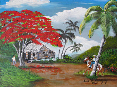 Borinquen Painting - Overlooking The Cliff by Luis F Rodriguez