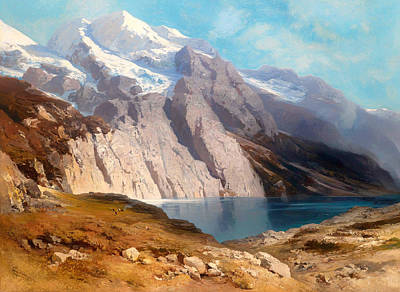 Switzerland Painting - Overlooking The Doldenhorn With Oeschinensee by Mountain Dreams