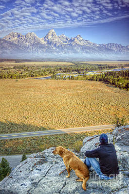 Best Friend Photograph - Overlooking The Grand Tetons Jackson Hole by Dustin K Ryan