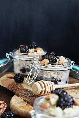 Photograph - Overnight Oatmeal With Blackberries And Honey by Stephanie Frey