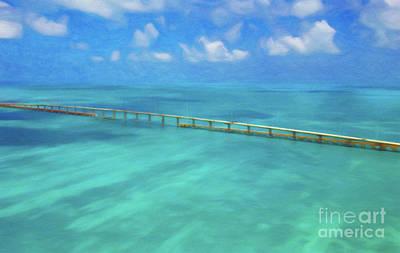 Florida Bridge Digital Art - Overseas Highway Florida Keys by Patrick M Lynch