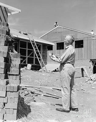 Overseer Photograph - Overseer At Construction Site, C.1950s by H. Armstrong Roberts/ClassicStock