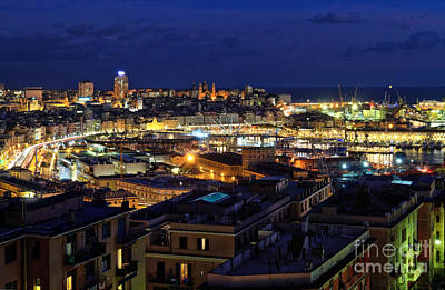 Photograph - overview of Genoa at evening by Antonio Scarpi