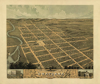 Owatonna, Minnesota 1870 Art Print by MapResearcher
