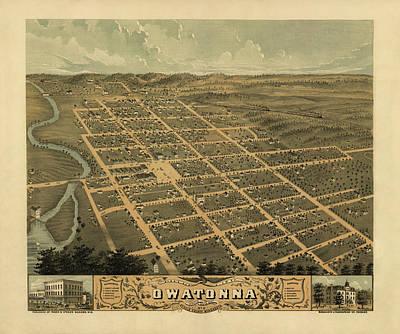 1870 Mixed Media - Owatonna, Minnesota 1870 by MapResearcher