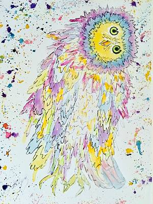 Painting - Owl A Splatter by Ellen Levinson