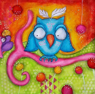 Mixed Media - Owl-ala  by Barbara Orenya