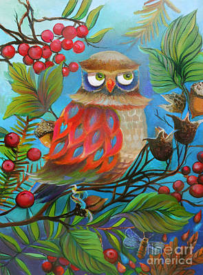 Wall Art - Painting - Owl And Berries by E Bradshaw