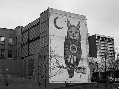 Photograph - Owl And Crescent Moon Mural - Black And White - Downtown Fayetteville Arkansas  by Gregory Ballos