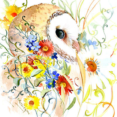 Barn Owl Drawing - Owl And Flowers by Suren Nersisyan