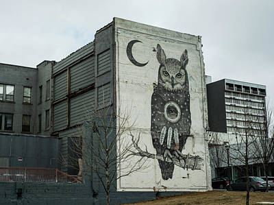 Photograph - Owl And Moon Mural - Downtown Fayetteville Arkansas  by Gregory Ballos